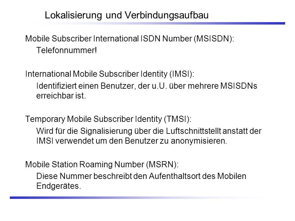 Lokalisierung und Verbindungsaufbau Mobile Subscriber International ISDN Number (MSISDN): Telefonnummer! International Mobile Subscriber Identity (IMS