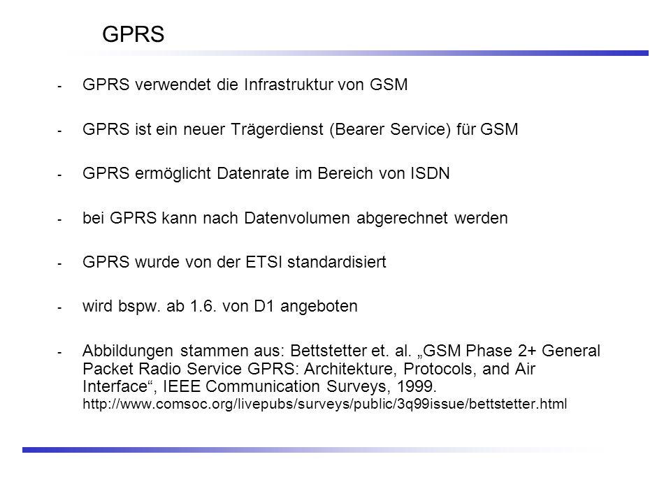 GPRS - GPRS verwendet die Infrastruktur von GSM - GPRS ist ein neuer Trägerdienst (Bearer Service) für GSM - GPRS ermöglicht Datenrate im Bereich von