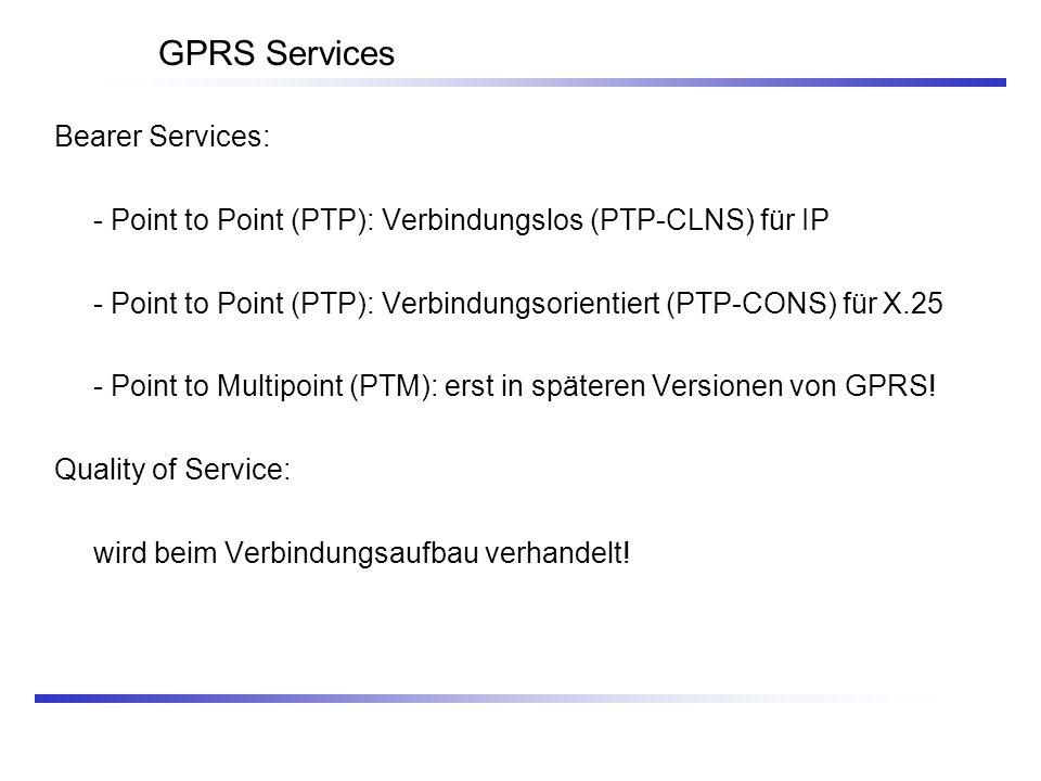 GPRS Services Bearer Services: - Point to Point (PTP): Verbindungslos (PTP-CLNS) für IP - Point to Point (PTP): Verbindungsorientiert (PTP-CONS) für X
