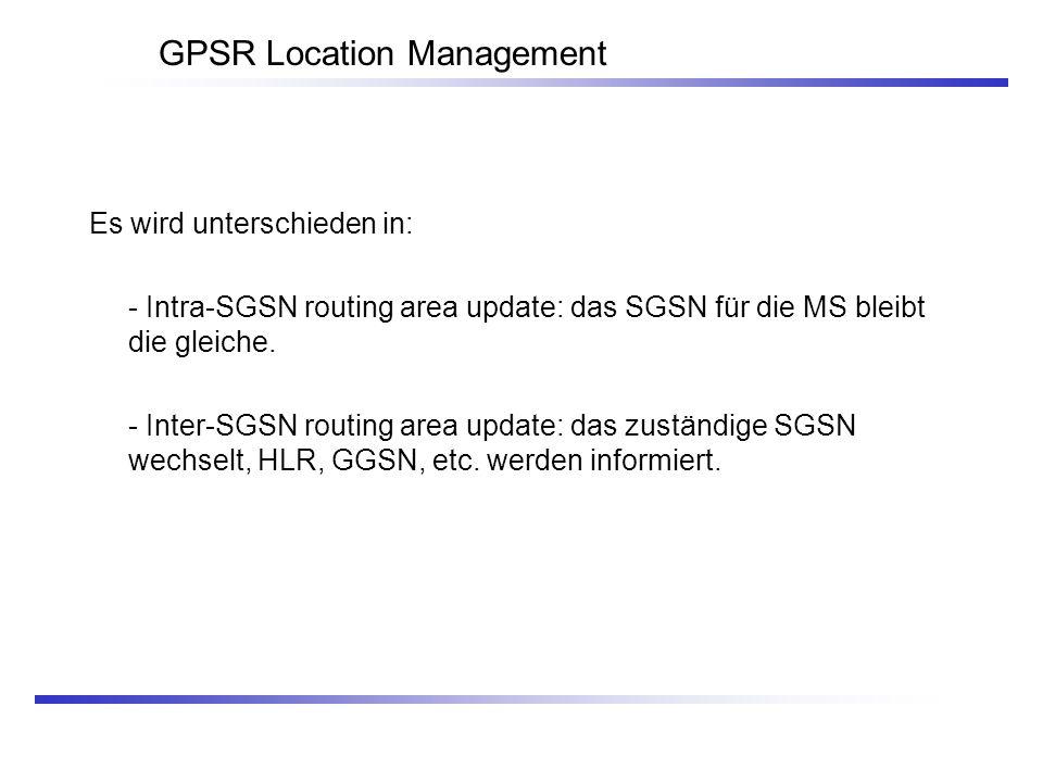 GPSR Location Management Es wird unterschieden in: - Intra-SGSN routing area update: das SGSN für die MS bleibt die gleiche. - Inter-SGSN routing area