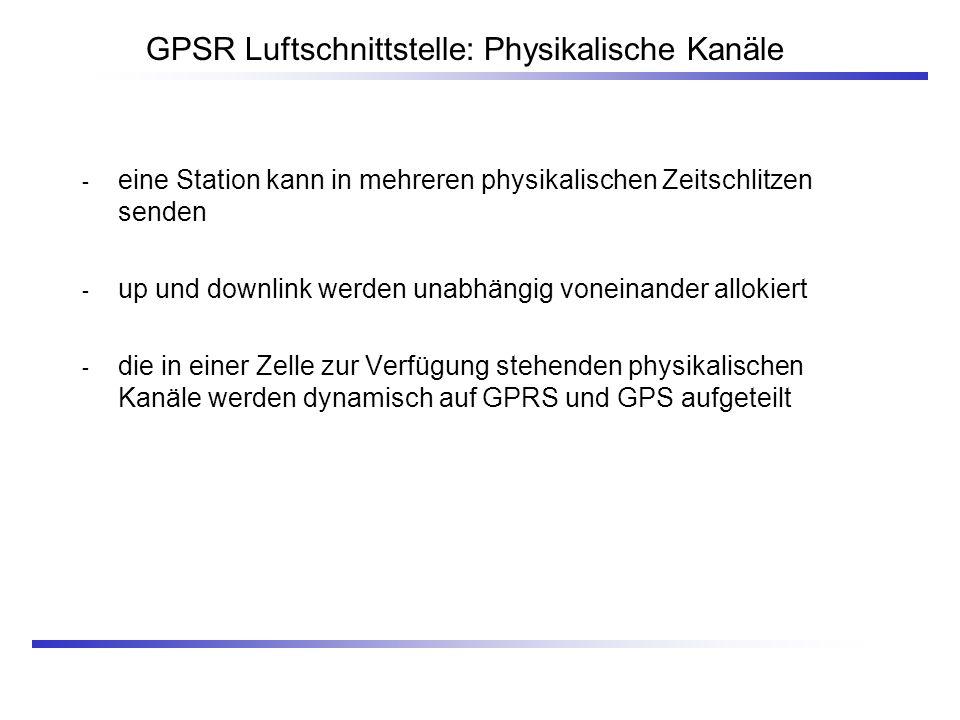 GPSR Luftschnittstelle: Physikalische Kanäle - eine Station kann in mehreren physikalischen Zeitschlitzen senden - up und downlink werden unabhängig v