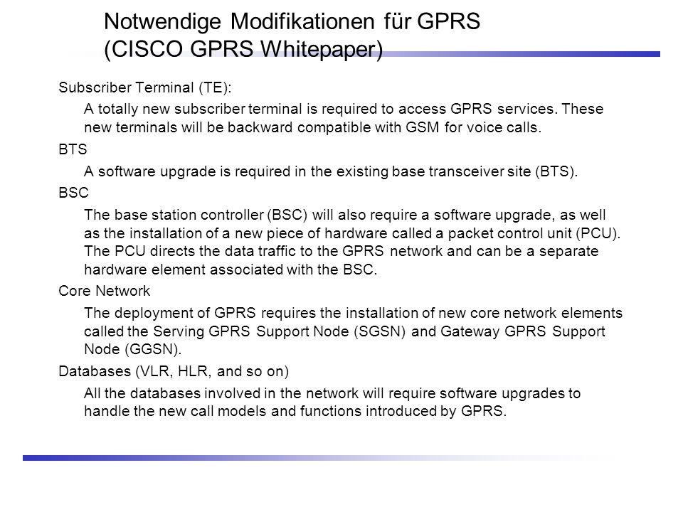 Notwendige Modifikationen für GPRS (CISCO GPRS Whitepaper) Subscriber Terminal (TE): A totally new subscriber terminal is required to access GPRS serv