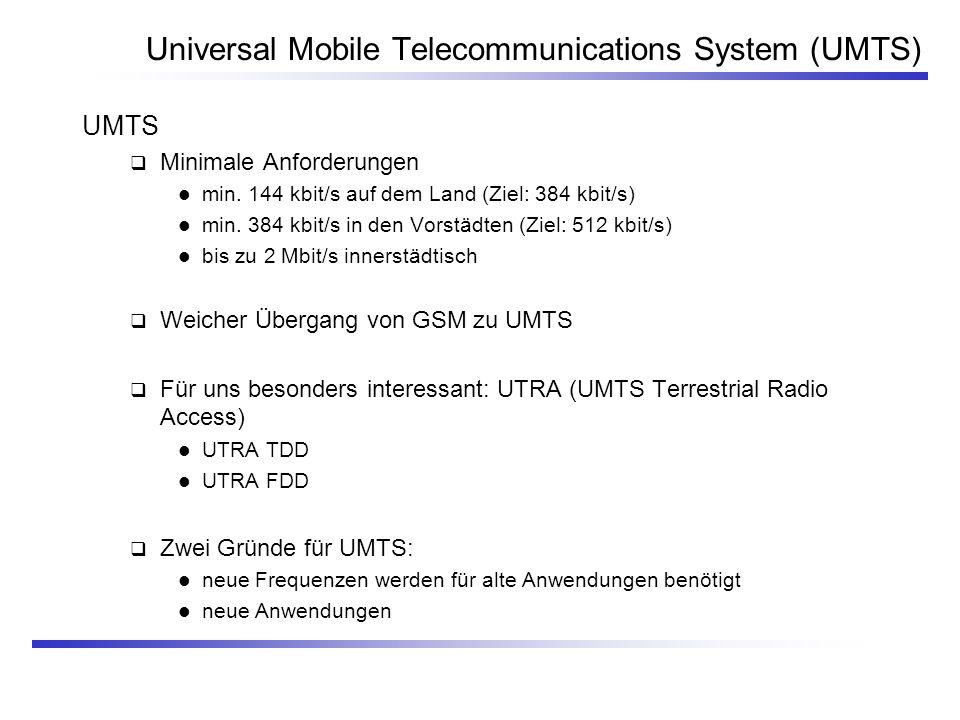 Universal Mobile Telecommunications System (UMTS) UMTS Minimale Anforderungen min. 144 kbit/s auf dem Land (Ziel: 384 kbit/s) min. 384 kbit/s in den V