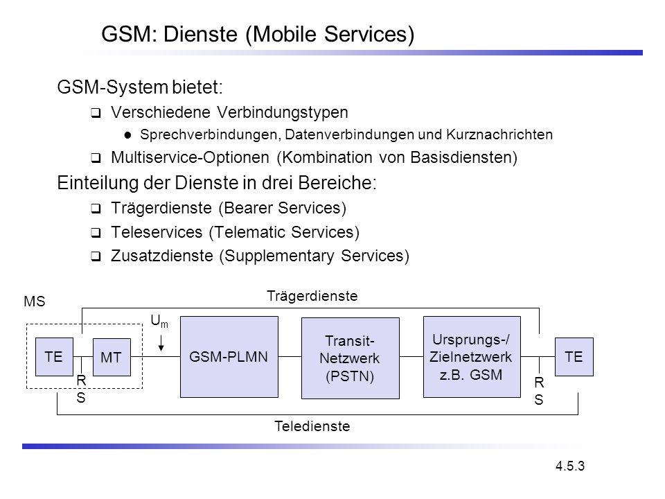 GSM: Dienste (Mobile Services) GSM-System bietet: Verschiedene Verbindungstypen Sprechverbindungen, Datenverbindungen und Kurznachrichten Multiservice