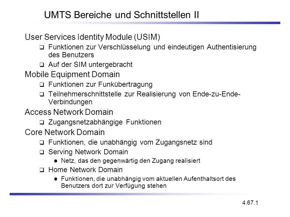 UMTS Bereiche und Schnittstellen II User Services Identity Module (USIM) Funktionen zur Verschlüsselung und eindeutigen Authentisierung des Benutzers