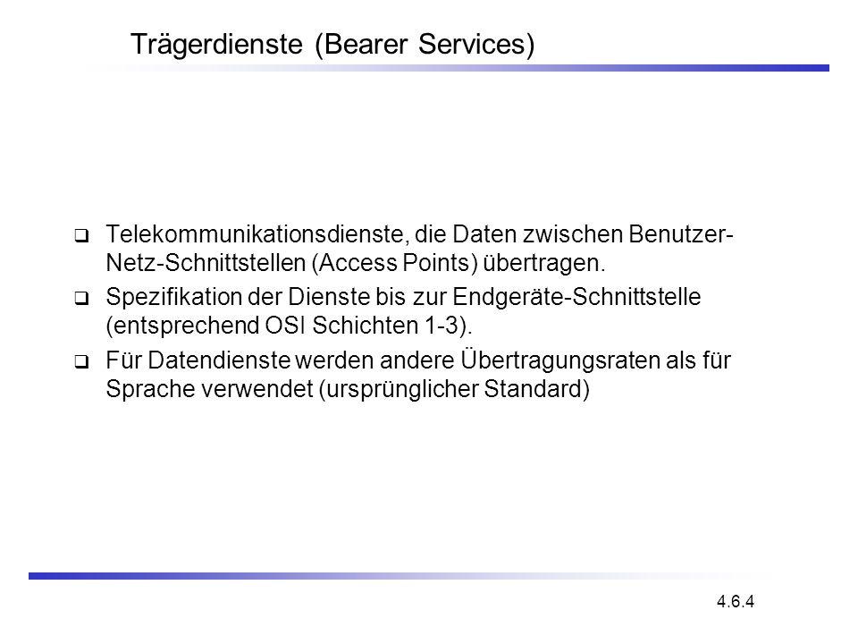 Trägerdienste (Bearer Services) Telekommunikationsdienste, die Daten zwischen Benutzer- Netz-Schnittstellen (Access Points) übertragen. Spezifikation