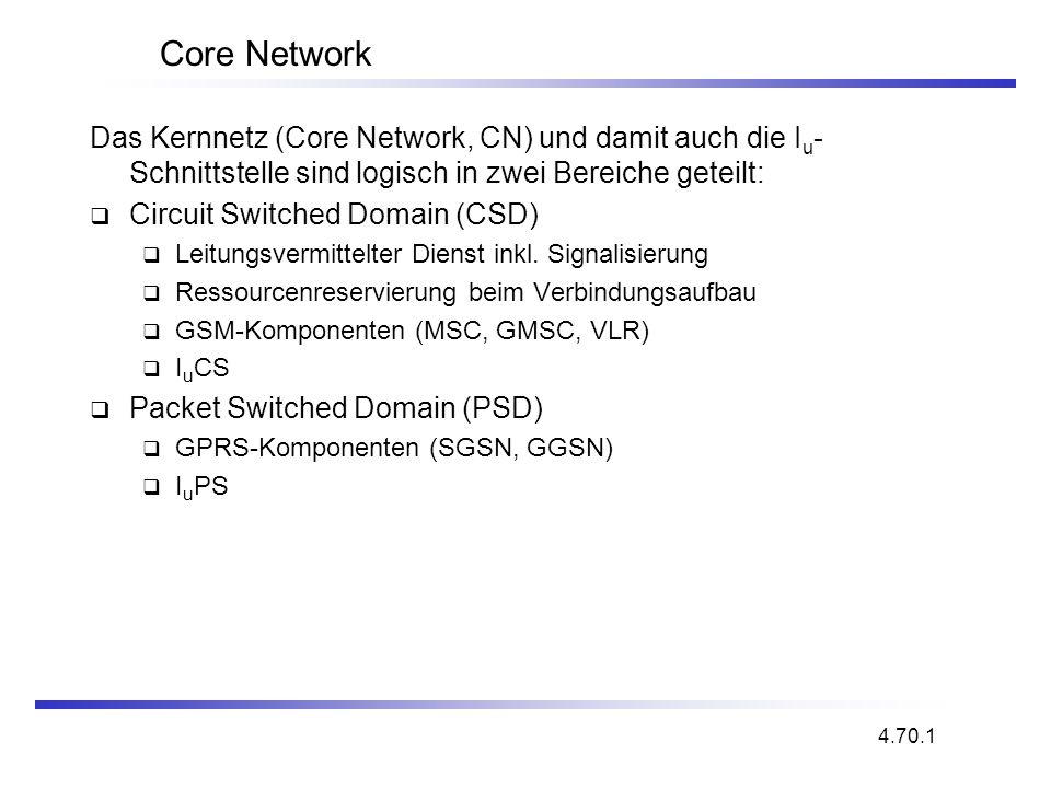 Core Network Das Kernnetz (Core Network, CN) und damit auch die I u - Schnittstelle sind logisch in zwei Bereiche geteilt: Circuit Switched Domain (CS