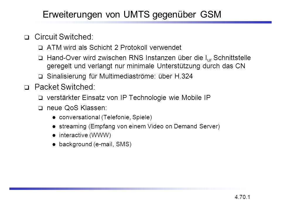 Erweiterungen von UMTS gegenüber GSM Circuit Switched: ATM wird als Schicht 2 Protokoll verwendet Hand-Over wird zwischen RNS Instanzen über die I ur