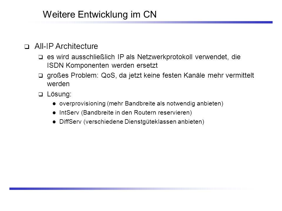 Weitere Entwicklung im CN All-IP Architecture es wird ausschließlich IP als Netzwerkprotokoll verwendet, die ISDN Komponenten werden ersetzt großes Pr