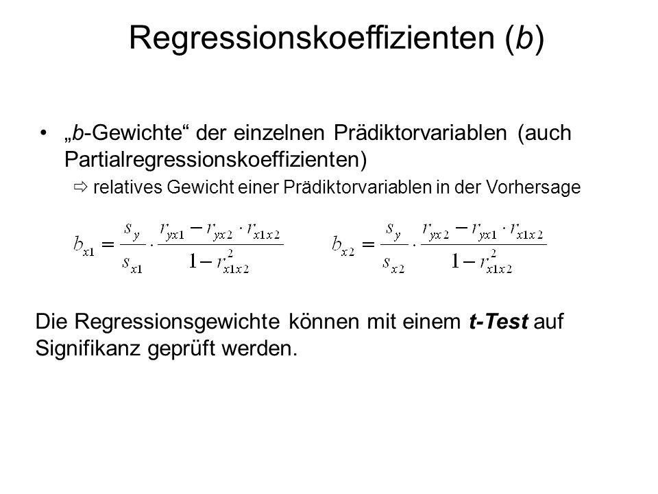 Regressionskoeffizienten (b) b-Gewichte der einzelnen Prädiktorvariablen (auch Partialregressionskoeffizienten) relatives Gewicht einer Prädiktorvaria