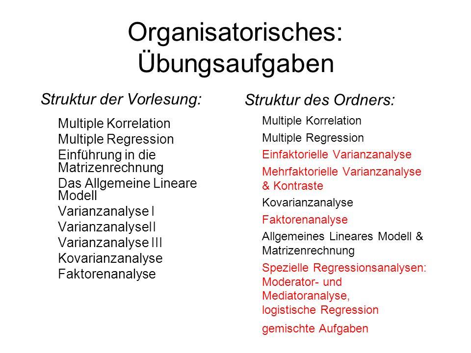 Organisatorisches: Übungsaufgaben Struktur der Vorlesung: Multiple Korrelation Multiple Regression Einführung in die Matrizenrechnung Das Allgemeine L