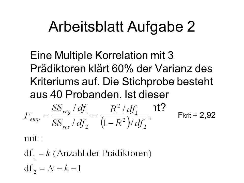 Arbeitsblatt Aufgabe 2 Eine Multiple Korrelation mit 3 Prädiktoren klärt 60% der Varianz des Kriteriums auf. Die Stichprobe besteht aus 40 Probanden.