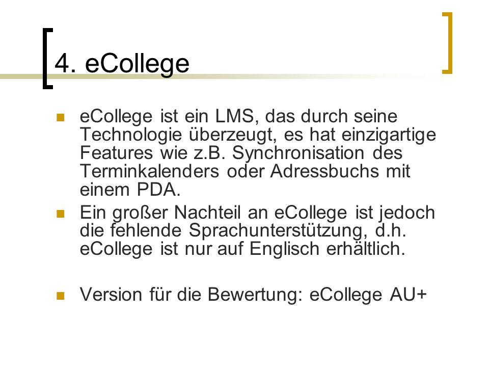 4. eCollege eCollege ist ein LMS, das durch seine Technologie überzeugt, es hat einzigartige Features wie z.B. Synchronisation des Terminkalenders ode
