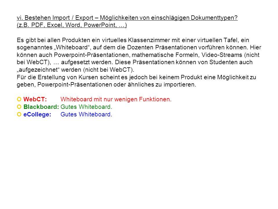 vi. Bestehen Import / Export – Möglichkeiten von einschlägigen Dokumenttypen? (z.B. PDF, Excel, Word, PowerPoint, …) Es gibt bei allen Produkten ein v