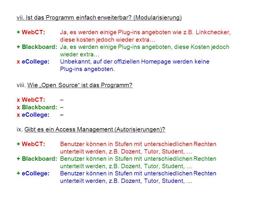 vii. Ist das Programm einfach erweiterbar? (Modularisierung) + WebCT:Ja, es werden einige Plug-ins angeboten wie z.B. Linkchecker, diese kosten jedoch