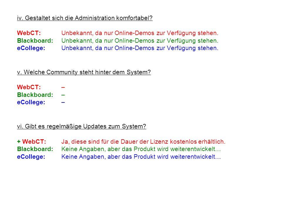 iv. Gestaltet sich die Administration komfortabel? WebCT:Unbekannt, da nur Online-Demos zur Verfügung stehen. Blackboard:Unbekannt, da nur Online-Demo