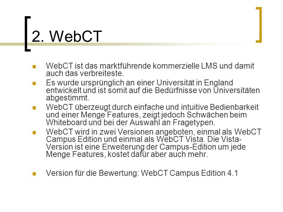 2. WebCT WebCT ist das marktführende kommerzielle LMS und damit auch das verbreiteste. Es wurde ursprünglich an einer Universität in England entwickel