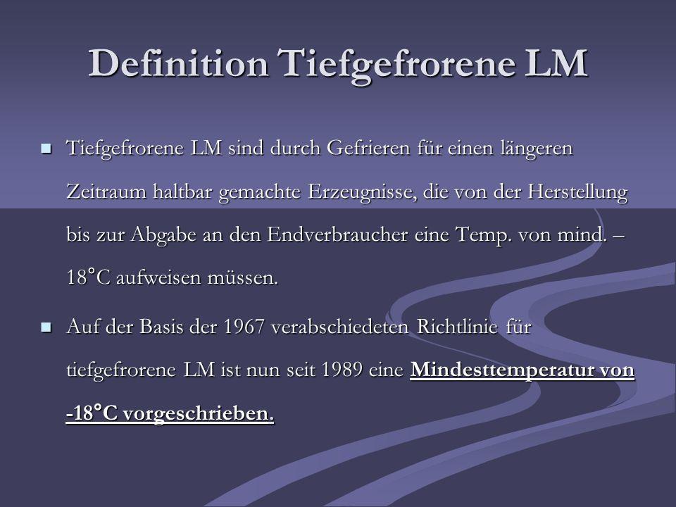 Definition Tiefgefrorene LM Tiefgefrorene LM sind durch Gefrieren für einen längeren Zeitraum haltbar gemachte Erzeugnisse, die von der Herstellung bi