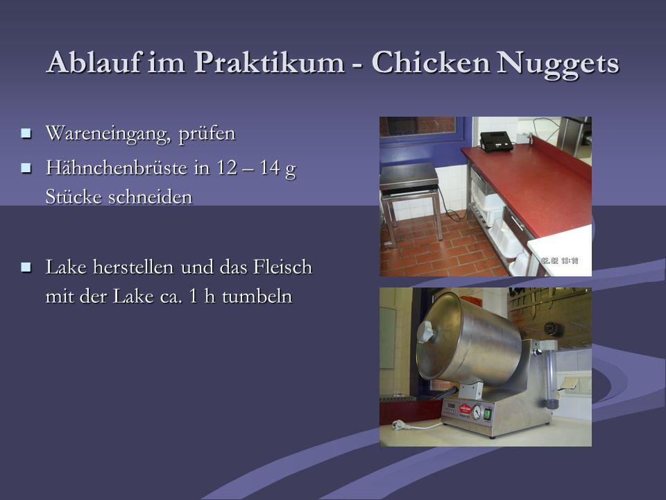 Ablauf im Praktikum - Chicken Nuggets Wareneingang, prüfen Wareneingang, prüfen Hähnchenbrüste in 12 – 14 g Stücke schneiden Hähnchenbrüste in 12 – 14