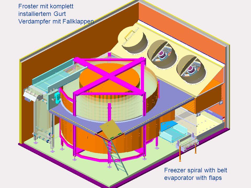Froster mit komplett installiertem Gurt Verdampfer mit Fallklappen Freezer spiral with belt evaporator with flaps