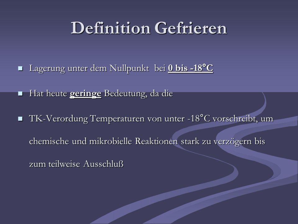 Definition Gefrieren Lagerung unter dem Nullpunkt bei 0 bis -18°C Lagerung unter dem Nullpunkt bei 0 bis -18°C Hat heute geringe Bedeutung, da die Hat
