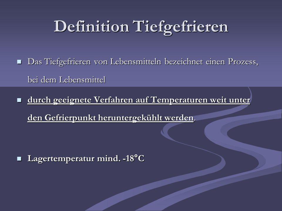 Gefrierstadium= Größter Teil des enthalt- enden Wassers friert bei – 5°C aus Quelle: Kontrolle der Kerntemperatur: Nach dem Schockgefrierprozess sollte die Produkttemperatur im Kern des Produktes –7°C betragen (Temperaturreserve) Temperaturverlauf im Kern des LM in Abhängigkeit von der Zeit