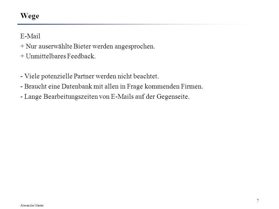 Alexander Mantai 6 Wege Eigene Homepage. + Niedrige Kosten. + Schnelle Änderungen möglich. + Möglichkeit eines direkten Zugriffs auf interne Datenbank