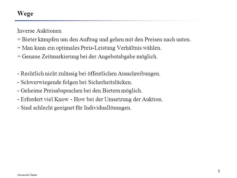 Alexander Mantai 7 Wege E-Mail + Nur auserwählte Bieter werden angesprochen. + Unmittelbares Feedback. - Viele potenzielle Partner werden nicht beacht