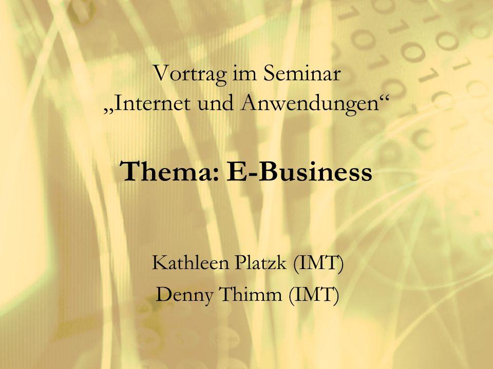Vortrag im Seminar Internet und Anwendungen Thema: E-Business Kathleen Platzk (IMT) Denny Thimm (IMT)