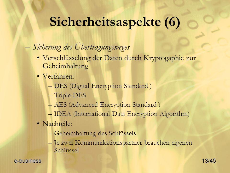 Sicherheitsaspekte (6) –Sicherung des Übertragungsweges Verschlüsselung der Daten durch Kryptogaphie zur Geheimhaltung Verfahren : –DES (Digital Encry
