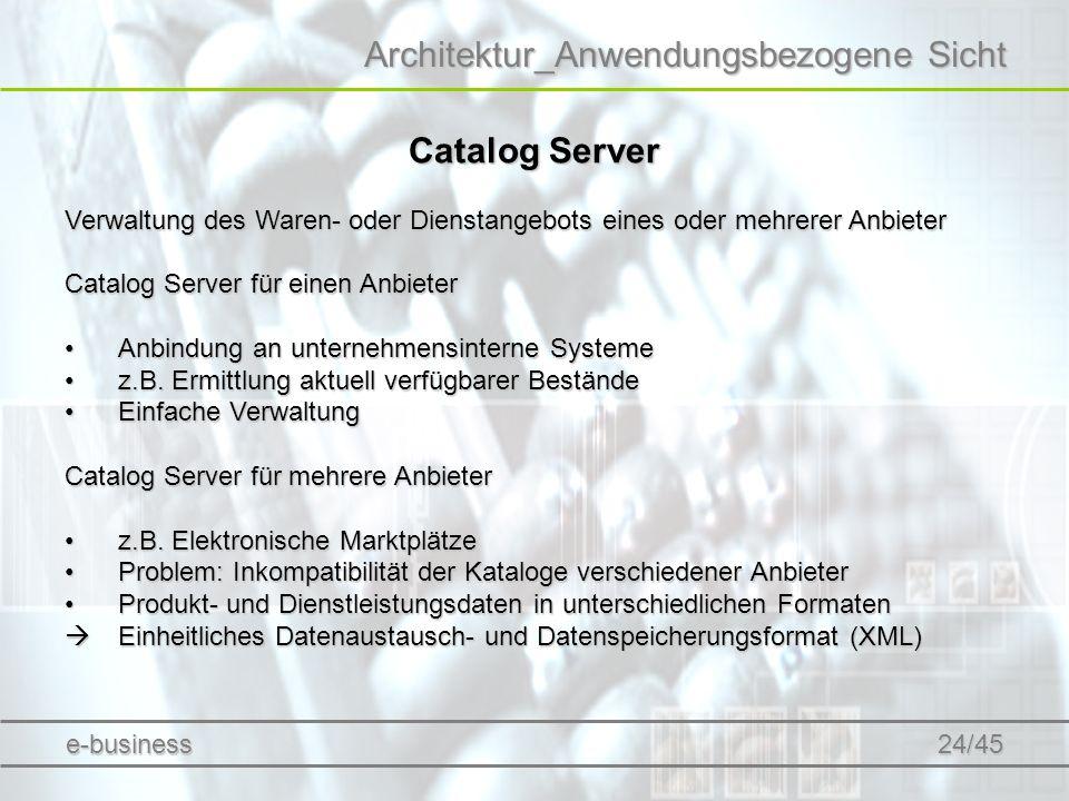 Architektur_Anwendungsbezogene Sicht Catalog Server Verwaltung des Waren- oder Dienstangebots eines oder mehrerer Anbieter Catalog Server für einen An