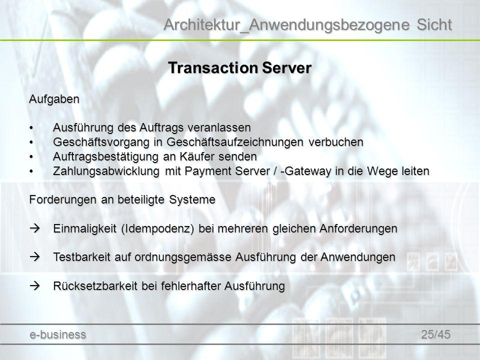 Architektur_Anwendungsbezogene Sicht Transaction Server Aufgaben Ausführung des Auftrags veranlassenAusführung des Auftrags veranlassen Geschäftsvorga