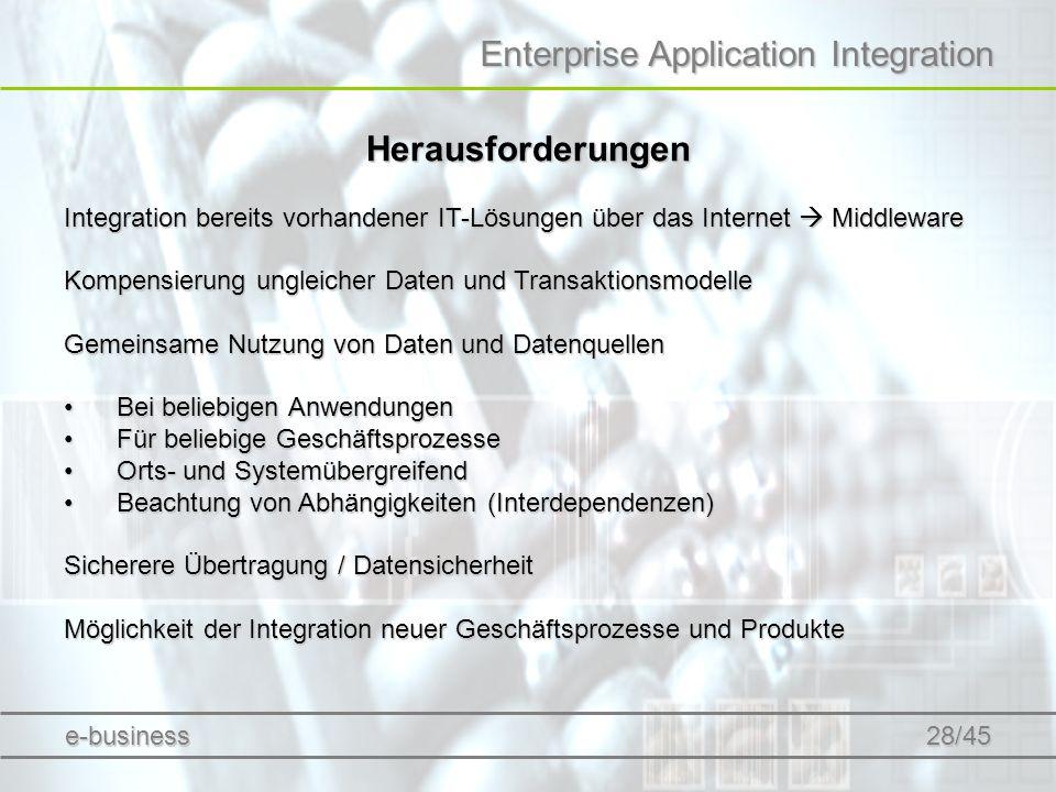 Enterprise Application Integration Herausforderungen Integration bereits vorhandener IT-Lösungen über das Internet Middleware Kompensierung ungleicher