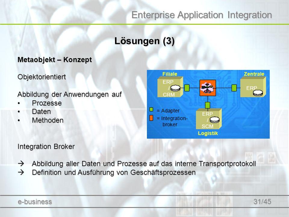 Enterprise Application Integration Lösungen (3) Metaobjekt – Konzept Objektorientiert Abbildung der Anwendungen auf ProzesseProzesse DatenDaten Method