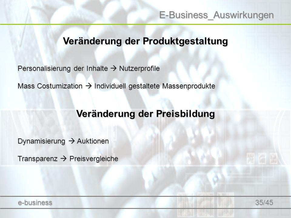 E-Business_Auswirkungen Veränderung der Produktgestaltung Personalisierung der Inhalte Nutzerprofile Mass Costumization Individuell gestaltete Massenp