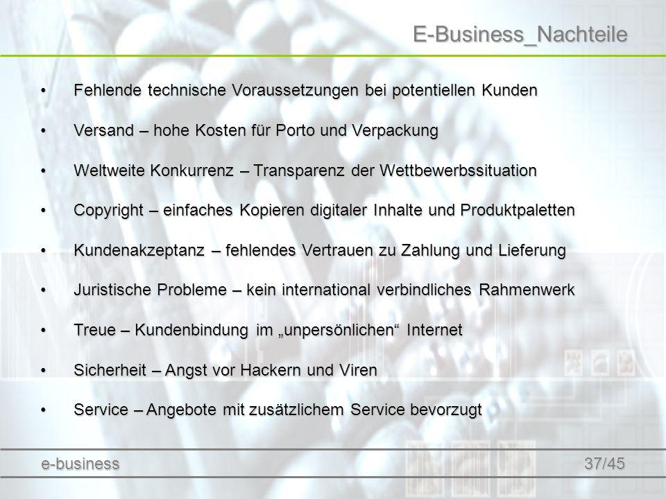 E-Business_Nachteile Fehlende technische Voraussetzungen bei potentiellen KundenFehlende technische Voraussetzungen bei potentiellen Kunden Versand –