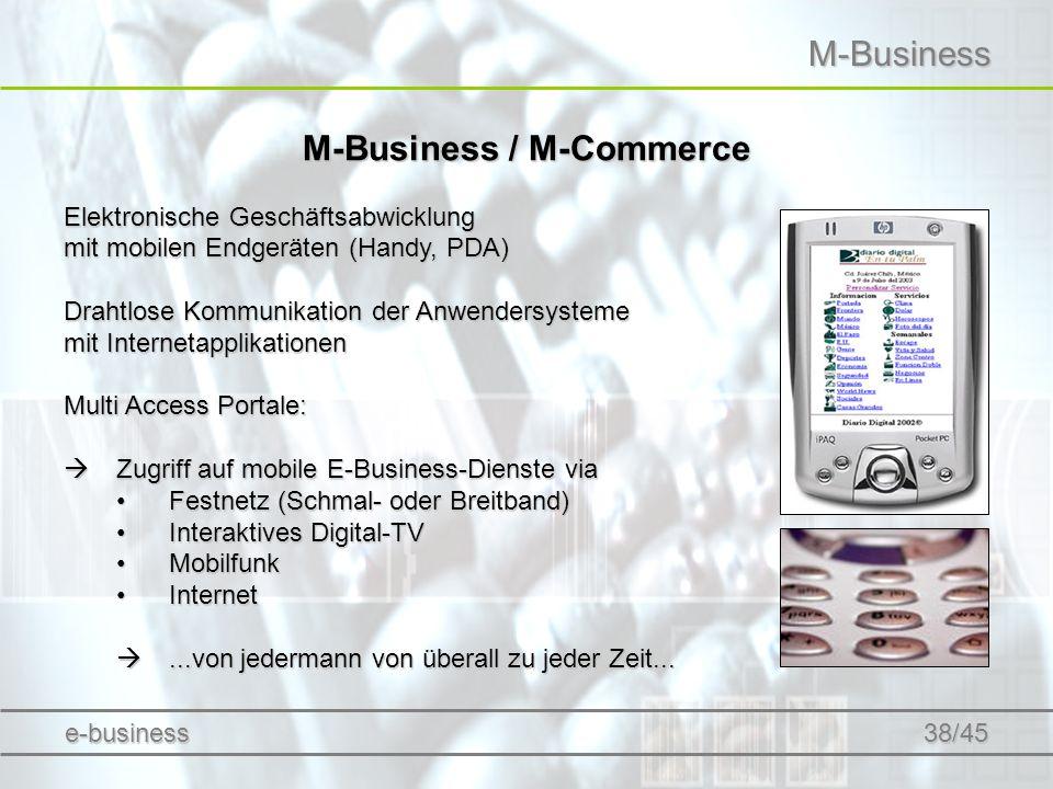 M-Business M-Business / M-Commerce Elektronische Geschäftsabwicklung mit mobilen Endgeräten (Handy, PDA) Drahtlose Kommunikation der Anwendersysteme m