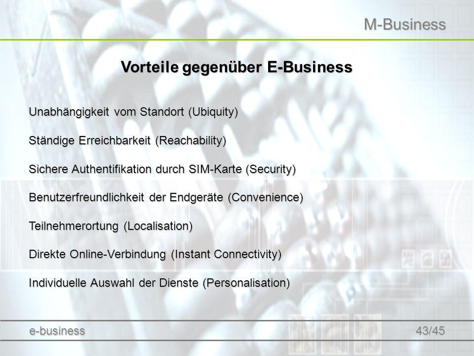 M-Business Vorteile gegenüber E-Business Unabhängigkeit vom Standort (Ubiquity) Ständige Erreichbarkeit (Reachability) Sichere Authentifikation durch