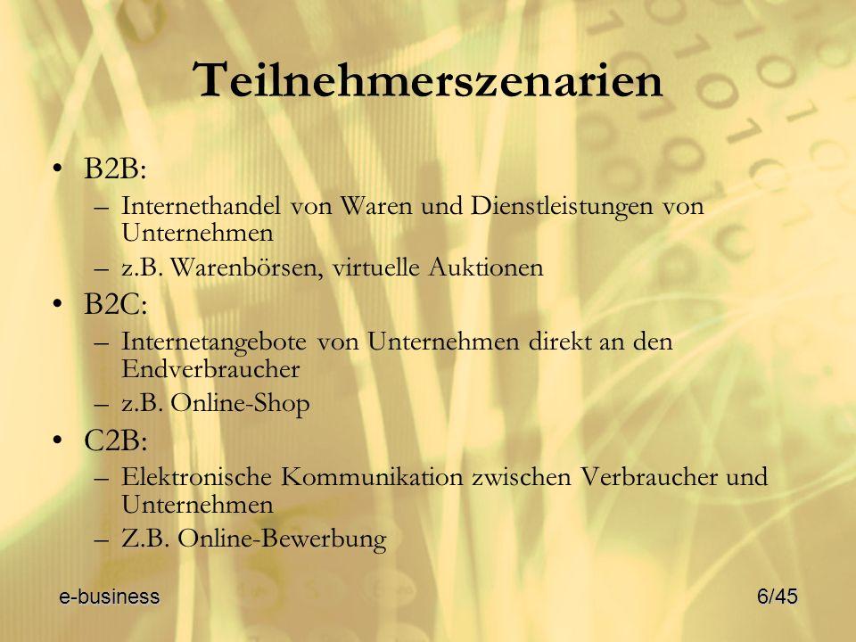 Teilnehmerszenarien B2B: –Internethandel von Waren und Dienstleistungen von Unternehmen –z.B. Warenbörsen, virtuelle Auktionen B2C: –Internetangebote