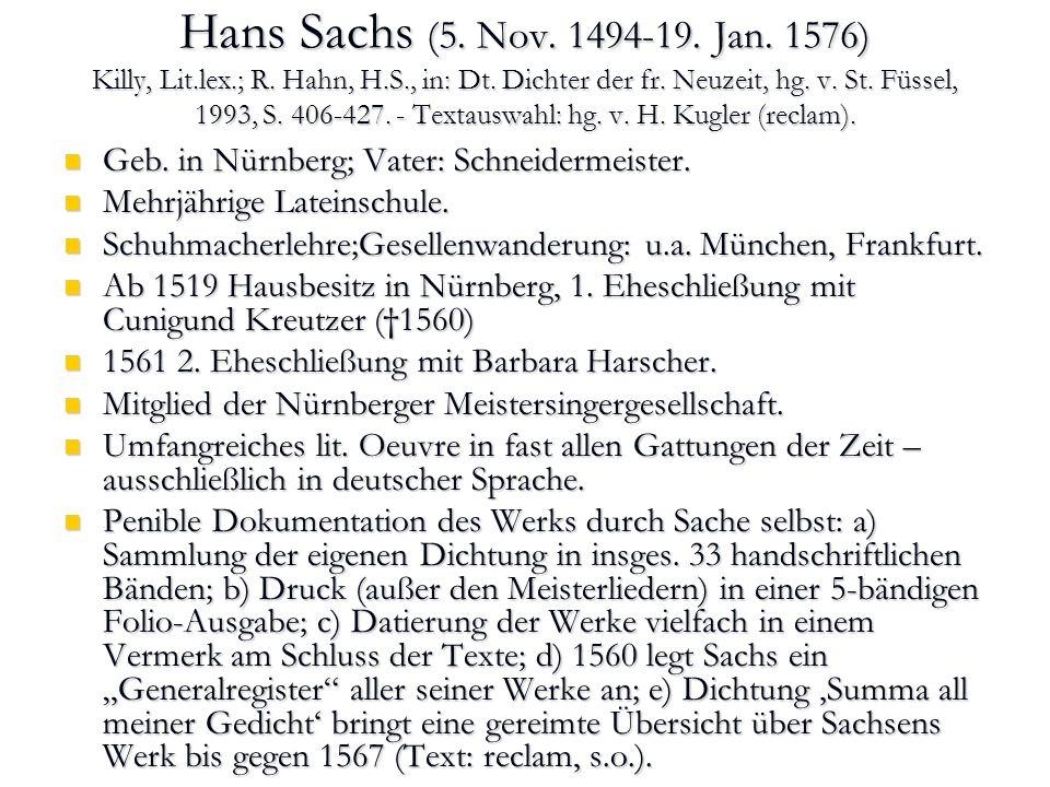 Der Nürnberger Maler Andreas Herneisen portraitiert Hans Sachs. Nürnberg 1574