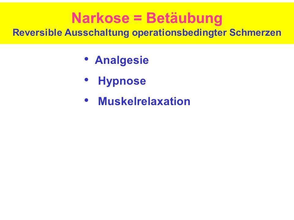 Narkose = Betäubung Reversible Ausschaltung operationsbedingter Schmerzen Analgesie Hypnose Muskelrelaxation