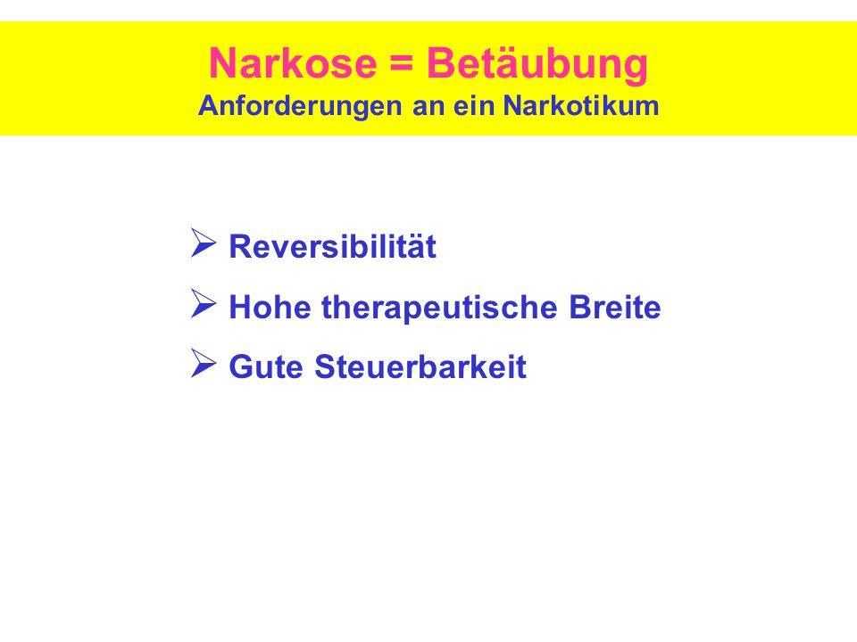 Narkose = Betäubung Anforderungen an ein Narkotikum Reversibilität Hohe therapeutische Breite Gute Steuerbarkeit