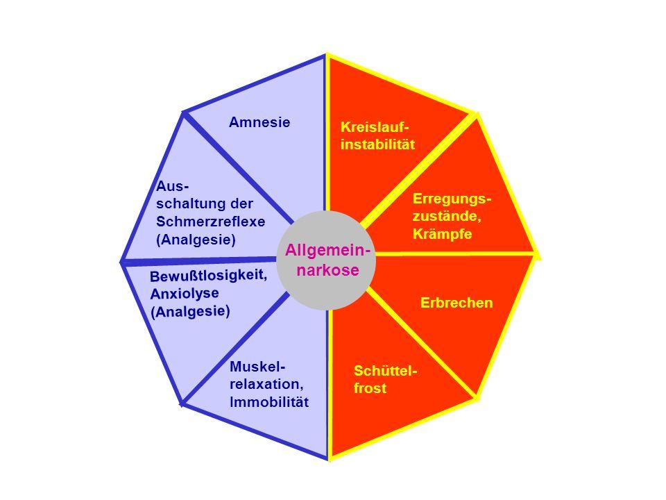 Amnesie Bewußtlosigkeit, Anxiolyse (Analgesie) Aus- schaltung der Schmerzreflexe (Analgesie) Muskel- relaxation, Immobilität Kreislauf- instabilität Erregungs- zustände, Krämpfe Erbrechen Schüttel- frost Allgemein- narkose