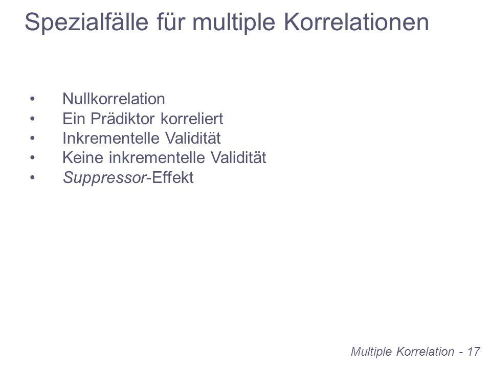 Multiple Korrelation - 17 Spezialfälle für multiple Korrelationen Nullkorrelation Ein Prädiktor korreliert Inkrementelle Validität Keine inkrementelle