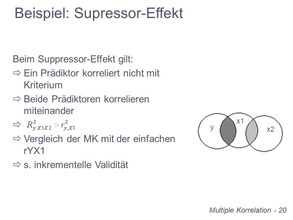 Multiple Korrelation - 20 Beispiel: Supressor-Effekt y x1 x2 Beim Suppressor-Effekt gilt: Ein Prädiktor korreliert nicht mit Kriterium Beide Prädiktor