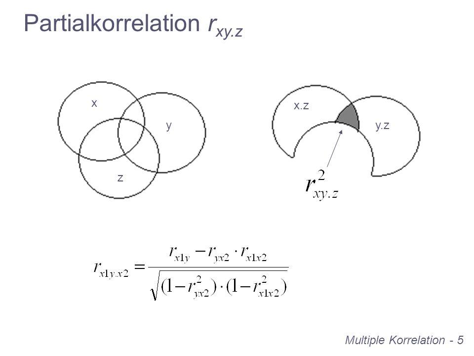 Multiple Korrelation - 6 Definition: Die Partialkorrelation r xy.z beschreibt den linearen Zusammenhang von zwei Variablen, … y.z x.z Partialkorrelation r xy.z … aus dem der Einfluss einer dritten Variable eliminiert wurde.
