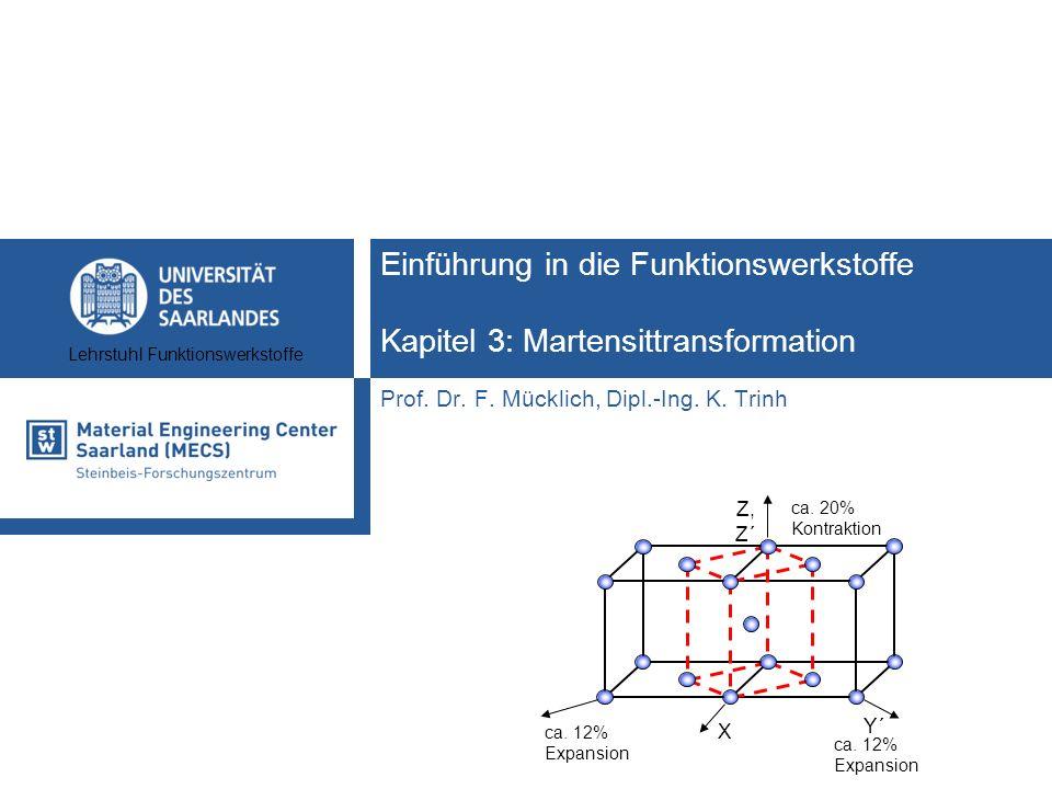 Lehrstuhl Funktionswerkstoffe Einführung in die Funktionswerkstoffe Kapitel 3: Martensittransformation Prof. Dr. F. Mücklich, Dipl.-Ing. K. Trinh Y´ X