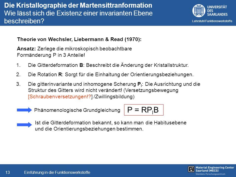 Einführung in die Funktionswerkstoffe13 Lehrstuhl Funktionswerkstoffe Theorie von Wechsler, Liebermann & Read (1970): Ansatz: Zerlege die mikroskopisc