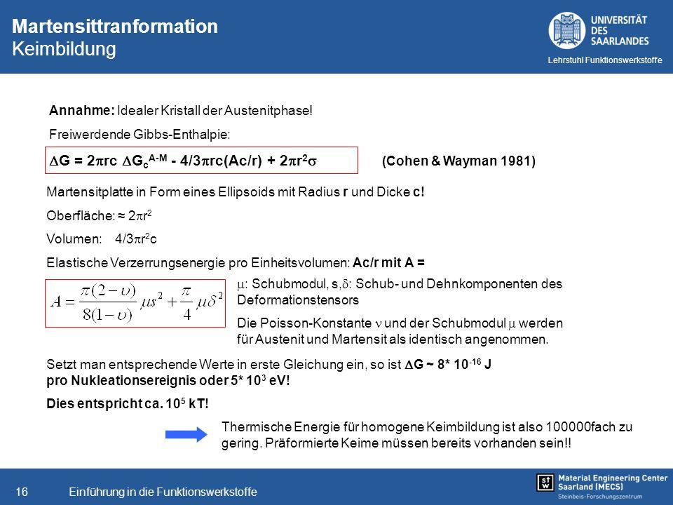 Einführung in die Funktionswerkstoffe16 Lehrstuhl Funktionswerkstoffe Martensitplatte in Form eines Ellipsoids mit Radius r und Dicke c! Oberfläche: 2