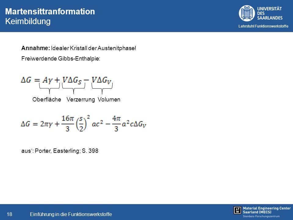 Einführung in die Funktionswerkstoffe18 Lehrstuhl Funktionswerkstoffe Martensittranformation Keimbildung Annahme: Idealer Kristall der Austenitphase!